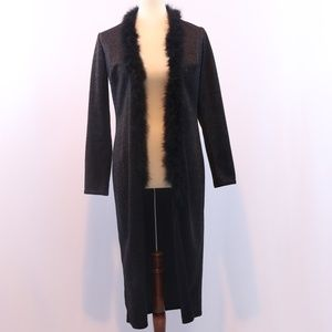 Indications Black Sparkly Long Evening Cardigan